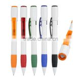 Transparent color trims Multi function twist action pen color rubber grip promotional LED pen writing in the dark
