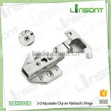 2016 hot sale 3-D adjustable hydraulic clip on iron hinge furniture hardware furniture hinges
