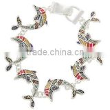 Antique Silver Tone Multi Color Epoxy Magnetic Closure Sea Life Dolphin Bracelet