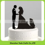 Sweet bride, groom and pet dog cake topper for wedding, plexiglass laser cut cake decorations