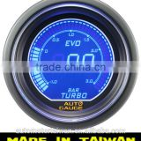 52mm Digital Blue / Red LCD boost gauge with sensor/52mm digital boost gauge for racing