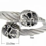 2015 wholesale stainless steel fashion skull bangle