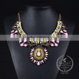 high quality vintage colorful rhinestone chunky statement necklace tin alloy fashion women pendant necklace 6390152