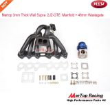 Mertop 3mm Thick Black Coated T4 DivideToyot* Supra 93-98 2JZ-GTE 2JZ Twin Turbo Turbo Manifold +46mm Wastegate