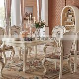New classic solid wood dining room furniture ivory white antique finished dining table set