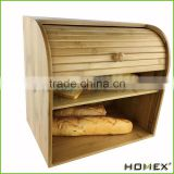 Bamboo corner bread box with rolltop Homex-BSCI