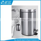 Household eco-friendly 20 Litres cylinder silver stainless steel foot pedal garbage bin for korea market