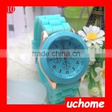 UCHOME promotional advertising quartz watches for lady cheap silicone band women geneva watch