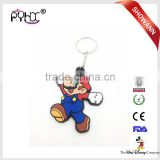 Special personalized 3d design silicone eco-friendly rubber keychain Mario for craft art gifts