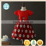 Turkey wholesale children clothes baby girls party dress Red Printed flower short sleeves Bow-knot Paskistan and Indian dress