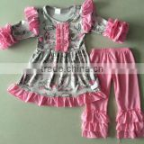 new coming bulk wholesale double ruffle kids clothing outfit