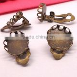 10mm 12mm Antique Bronze Ear Clip Blank Base Cabochon Bezels Setting Round Lace Edge Earring Tray For Jewelry Making