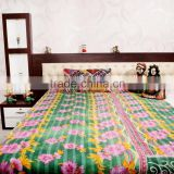 Multicolor Kantha Print King Size Quilt Reversible Ethnic Art Bedding Indian Vintage Bed Cover Handmade Cotton Bedspread