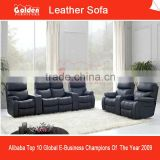 EA102# Black Italy Leather Sectional Recliner Sofa