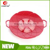 Latest food stand silicone stew pot cover spill stopper lid