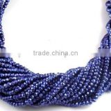 "5 Strand Blue Sapphire Coated Pyrite Gemstone Micro Faceted Rondelle Beads Measure 3.5-4mm - 13"" Long"