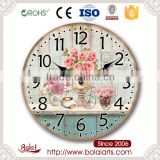 Rose pastoral style retro personality simple and refreshments mdf wall clock for restaurant