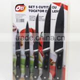 kitchen wooden cutting board with 5pc knife set                                                                         Quality Choice