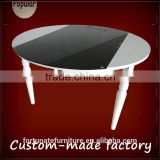 Awesome glass top metal frame round extendable dinging table