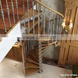 Luxury classic spiral wood stairs, Painted color wooden step stairs, YUDI DIY wood stairs