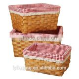 Wooden storage basket homeware basket with fabric liner handmade