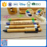 Cheap price best selling eco friendly promotional bamboo ball pen with colorful plastic clip