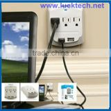3 outlet USA type wall socket with 2 USB port