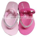 2015 shining jewel cute girls flip flop Fashion baby pink EVA flip flop