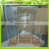 DDL-0003 Wholesale Crystal Clear Acrylic Church Pulpit With Wood Baset, Plexiglass Church Pulpit