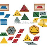 Montessori sensorial wooden educational toys constructive triangles with 5 boxes