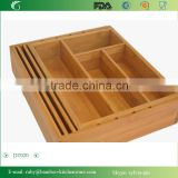 DT020/ Bamboo Drawer Organizer Expendable Bamboo Tray with Adjustable Dividers Eliminate Clutter