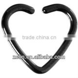 Black Titanium Hollow Heart Clip On Closure nose hoop Earring body jewelry