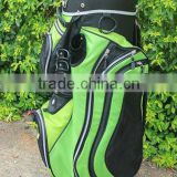 green fabric nylon golf cart bag with putter tube