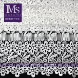 New design polyester fabric with flower border, white polyester flower knit fabric for clothing