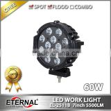 "7"" 60W round LED work light Jeep Wrangler offroad 4x4 racing buddy vehicles heavy duty equipment led flood lamp"