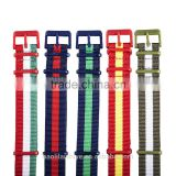 2016 NEW custom fashion 16 18 20 22 24 26mm printed nato nylon watch strap with colorful plastic hardware
