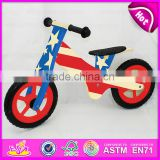 12 inch plywood waterbase painting Kids Sports Wooden Bicycle,Modern wooden walking kids balance bicycle W16C116