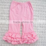 Hot Sale Baby Girls Ruffle Pants Triple Bottom Ruffle Children Icing Leggings Pants Wholesale Kids legging Pants