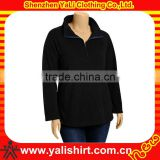 High quality comfortable classic black zipper neck fleece plain plus size fashion women dress hoodies