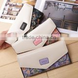 New Korean version of the small garden of small floral Lingge clutch bag ladies bag hit color envelope buckle wallet handbags