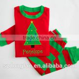Christmas pajamas red and green stripe unique boy or girl names monogram personalized set