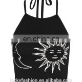 2016 BAIYIMO Latest Hot Sale Women's Sun Moon Print Halter Neck Tied Crop Vest Casual Top