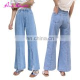 Aliexpress Hot Sale bulk wholesale Wide leg split new fashion sky blue jeans pants