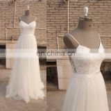 Spaghetti Strap Chiffon Beach Bohemian Lace Boho wedding Dress