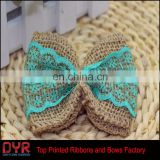 Blue lace Jute Burlap Ribbon bow