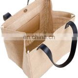Natural Jute Burlap Tote Bags with Soft Handles and Laminated Interior,  Heavy Duty Shopping Bags