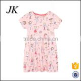 2016 new casual high quality cotton round neck baby one-piece dress designs for children