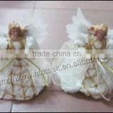 Christmas decorating supplies fabric,ceramic golden angel shape ornaments supplies natal crafts hanging