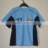 OEM 2016 100% polyester blue football shirt kids soccer jersey