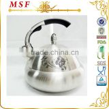 Upscale stainless steel water kettle zinc alloy chrome plated cast handle color changing flower on body MSF-2862